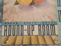 1940's 1950's Texas State Hotel Round-Up Room Breakfast Menu Houston Texas