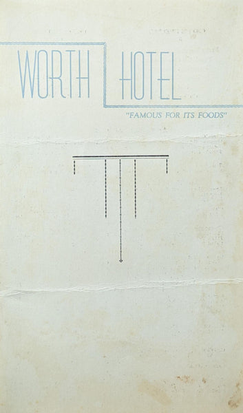1949 Worth Hotel Vintage Restaurant Menu Fort Worth Texas