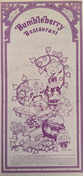 1975 Large Menu Bumbleberry Restaurant Northern California Locations