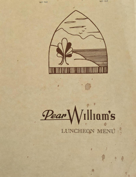 1980's Pear Williams Restaurant Lunch Menu Menlo Park California