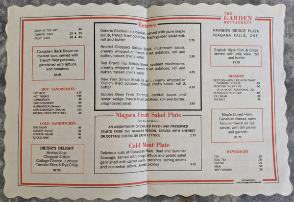 1960's The Garden Restaurant Placemat Menu Rainbow Bridge Plaza Niagara Falls ON