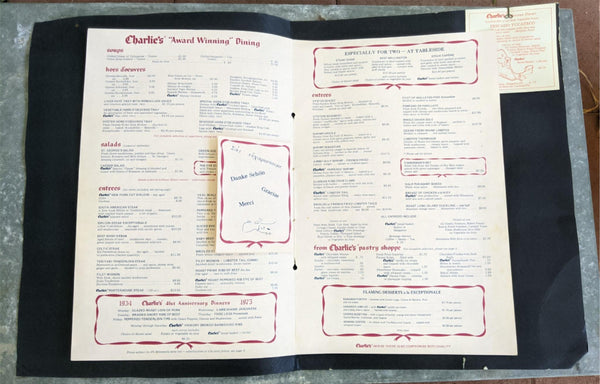 1970's Charlie's Cafe Exceptionale Huge Menu Minneapolis Minnesota