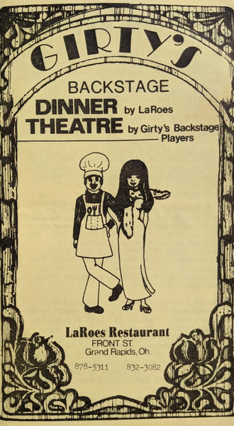 1981 GIRTY'S Backstage Dinner Theatre LAROE'S Restaurant Ad Grand Rapids Ohio