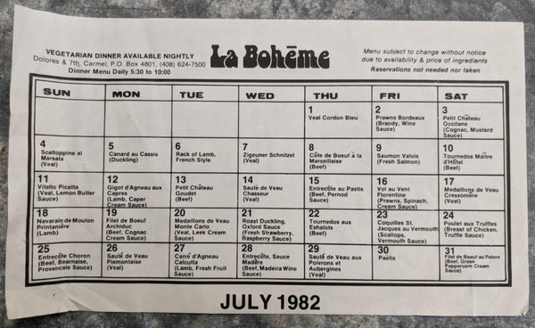 1982 LA BOHEME Restaurant Nightly Calendar Vegetarian Dinners Carmel California