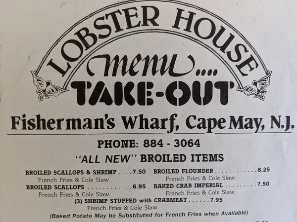 Lobster House Restaurant Vintage Take-Out Menu Cape May New Jersey
