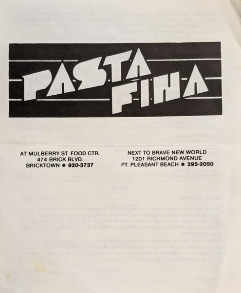 Pasta Fina Vintage Restaurant Menu Bricktown & Pt. Pleasant Beach New Jersey