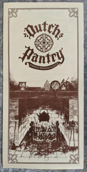 DUTCH PANTRY Family Restaurants Vintage Tri-Fold Menu Harrisburg Pennsylvania