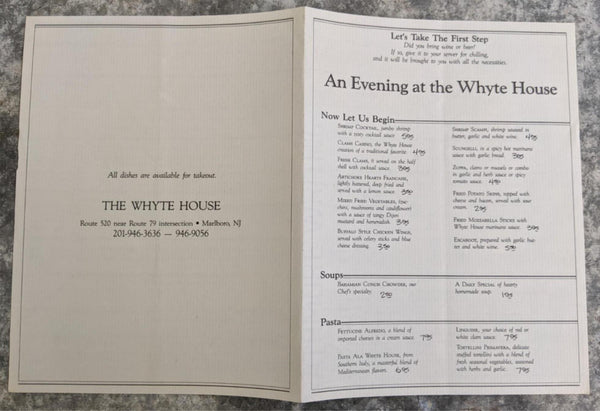 The WHYTE HOUSE Restaurant Vintage Menu Marlboro New Jersey