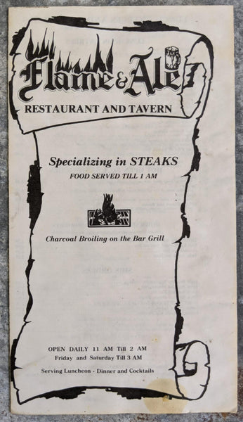 1980's FLAME & ALE Restaurant Tavern Menu Edison New Jersey Charcoal Steaks