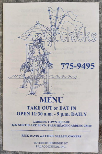 1990's C.R. CHICKS Restaurant Vintage Menu Palm Beach Gardens Florida