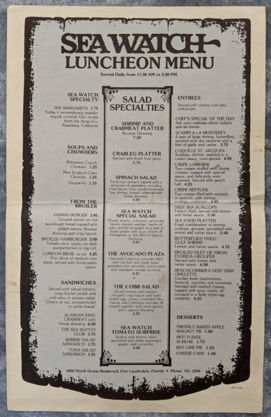 1981 SEA WATCH Restaurant Lunch Menu Fort Lauderdale Florida