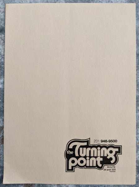 The TURNING POINT Restaurant Vintage Menu Holmdel New Jersey