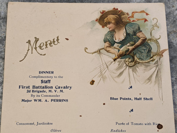 1898 Major WILLIAM A. PERRINS 1st Battalion Cavalry Massachusetts Militia Menu