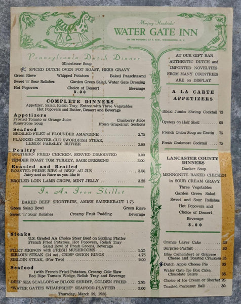 1956 Marjory Hendricks WATER GATE INN Menu Washington DC Pennsylvania Dutch