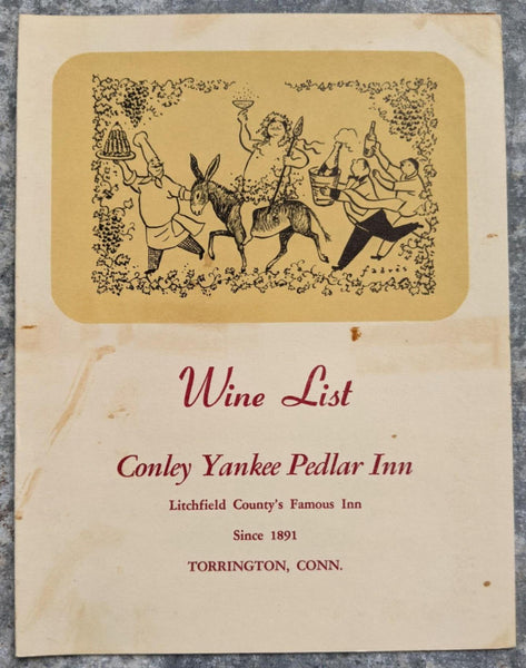 1950's Conley Yankee Pedlar Inn Wine List Menu Torrington Connecticut