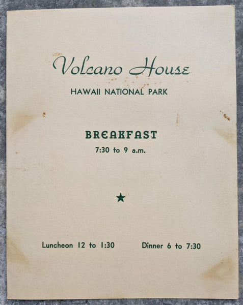 1960 VOLCANO HOUSE Restaurant Breakfast Menu Hawaii National Park Kilauea
