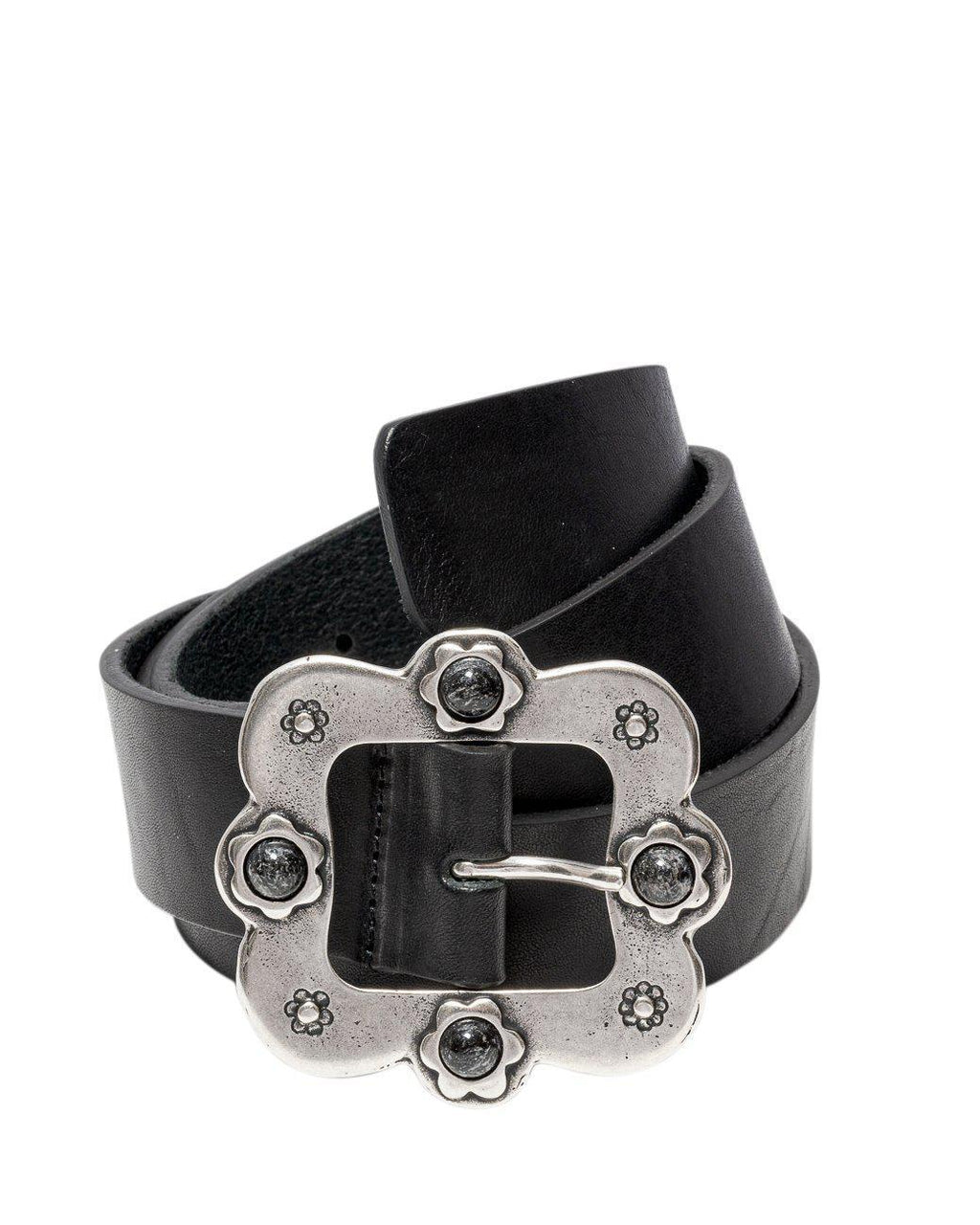 LEATHER BELT WITH FLORAL BUCKLE