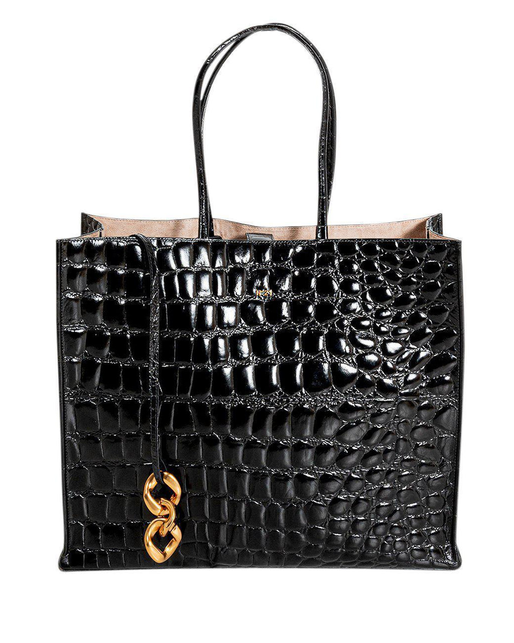 BLACK PATENT CROCODILE-EFFECT LEATHER TOTE BAG