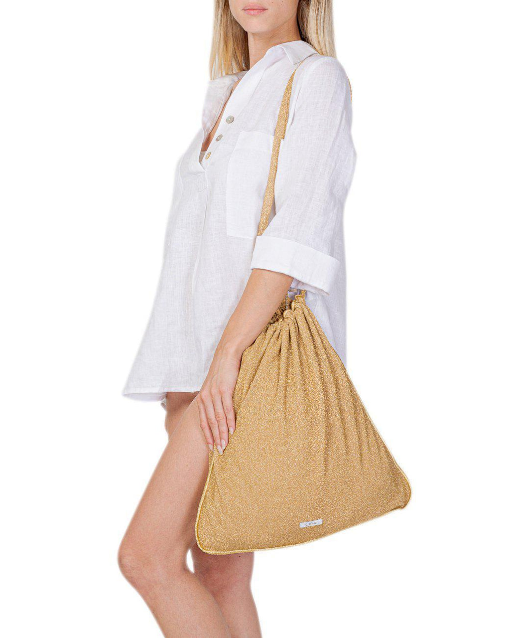 BEIGE LUREX DRAWSTRING TOTE BAG