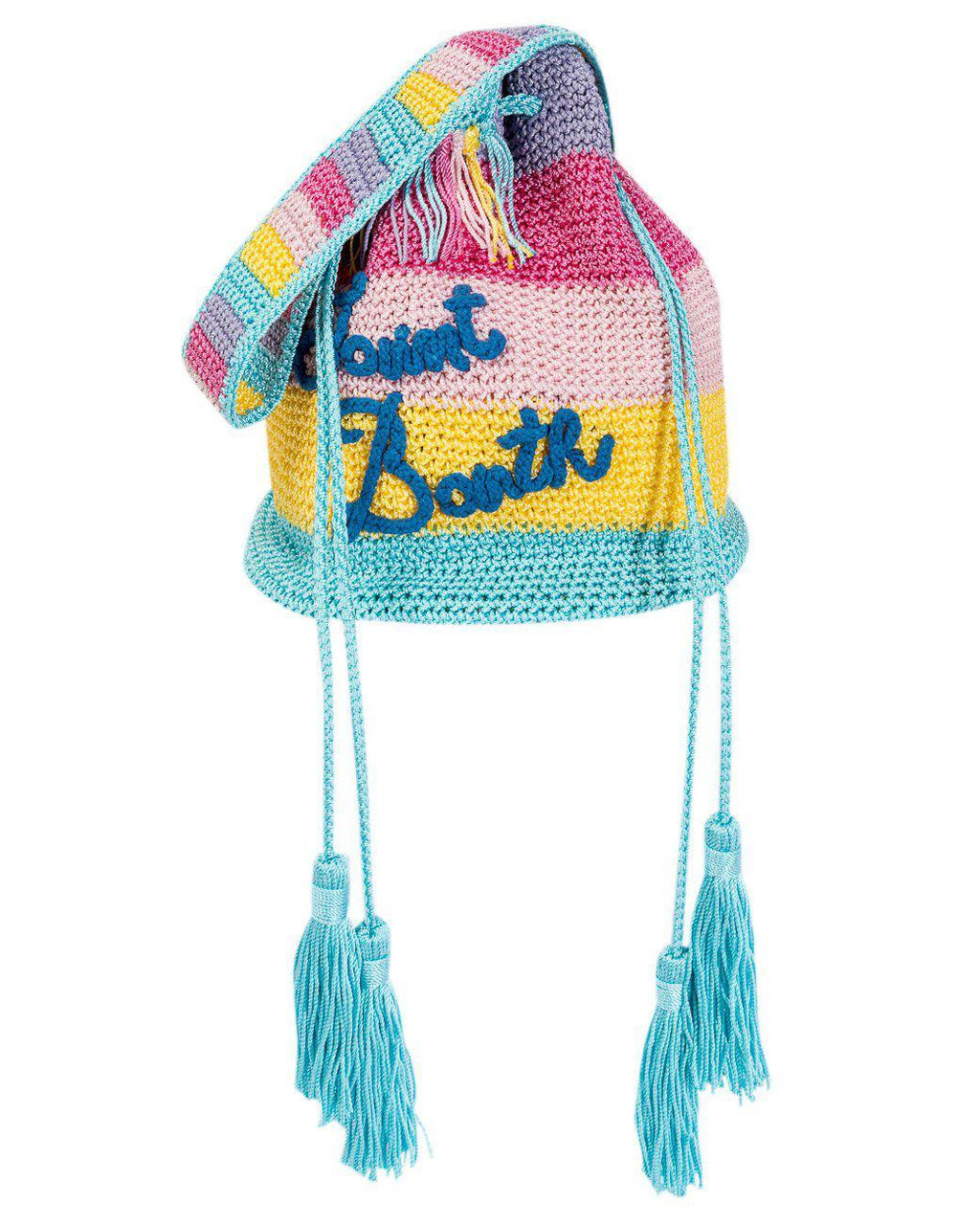STRIPED CROCHET BUCKET BAG