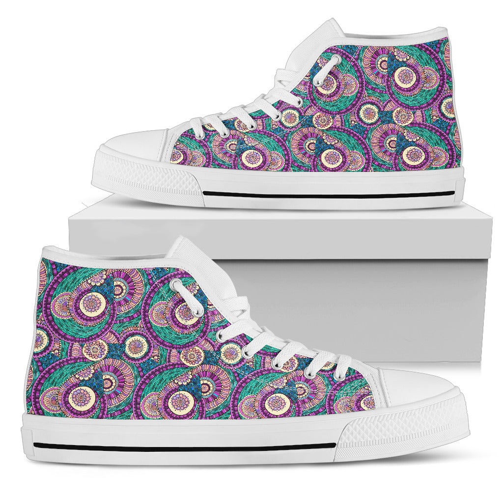 Womens Multi-Color Fractal Mandala High Top. - Fashion Factorys