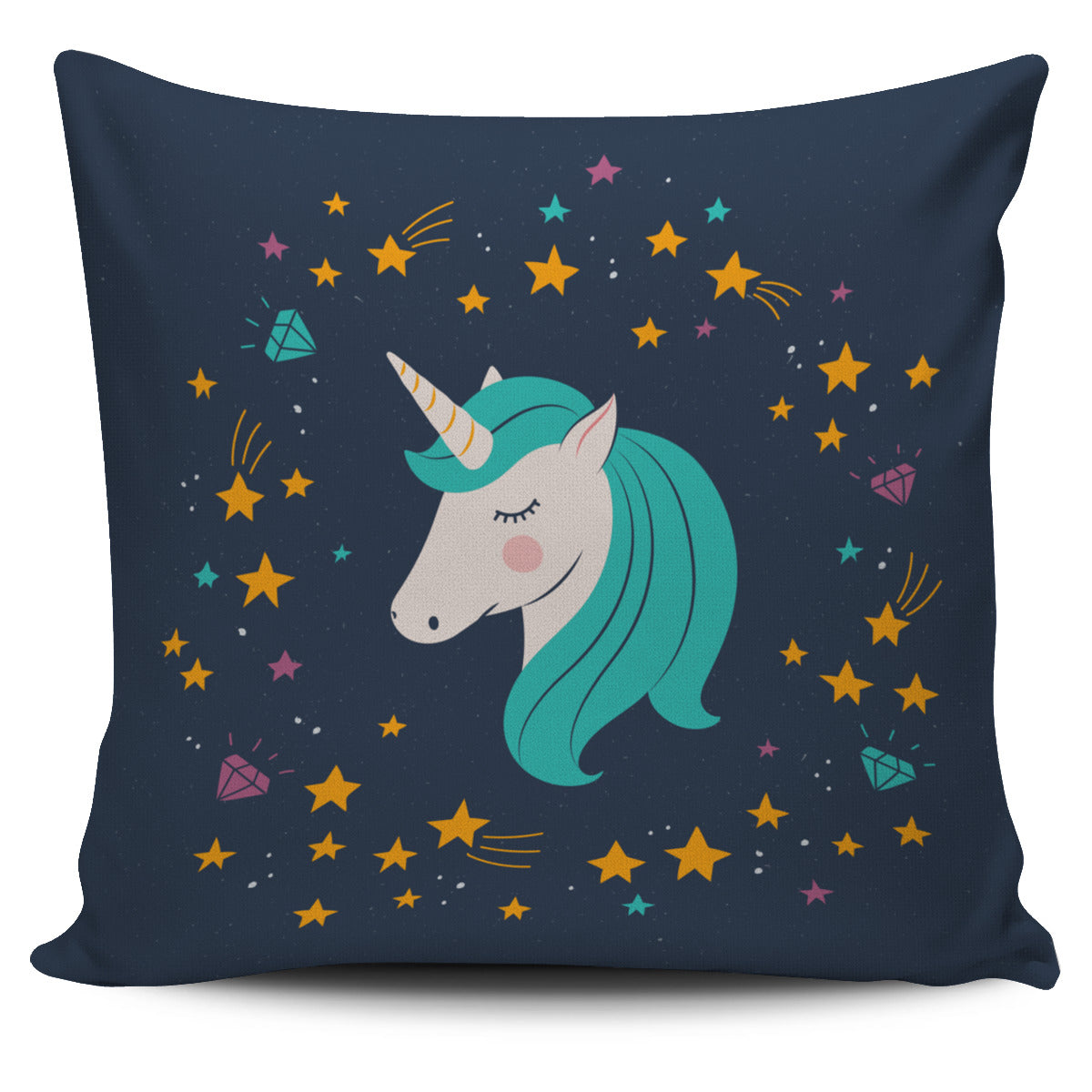 Midnight Blue Starry Night Unicorn Pillow Cover - Fashion Factorys