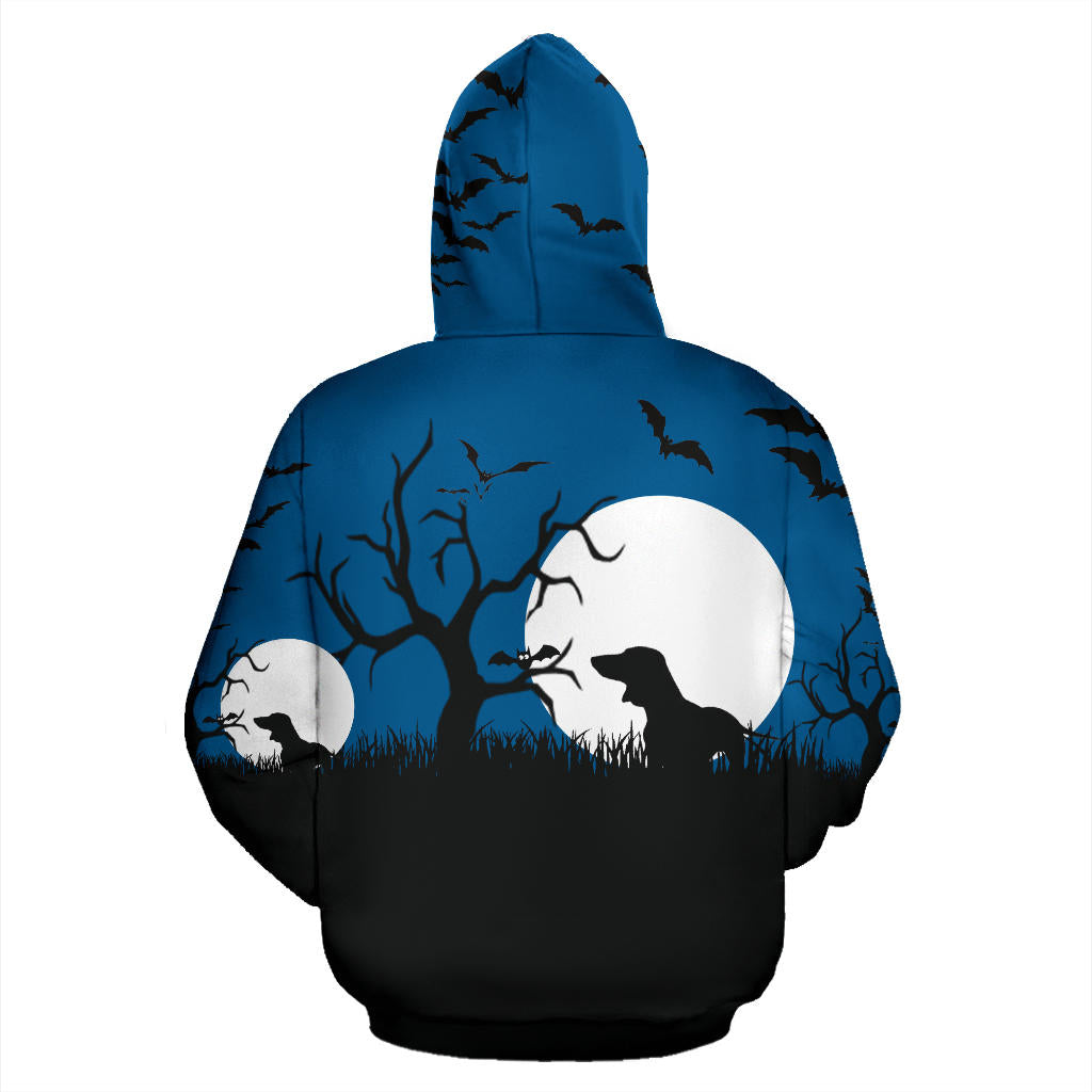 Halloween Bats And Dachshund In From Of Moon Hoodie - Fashion Factorys