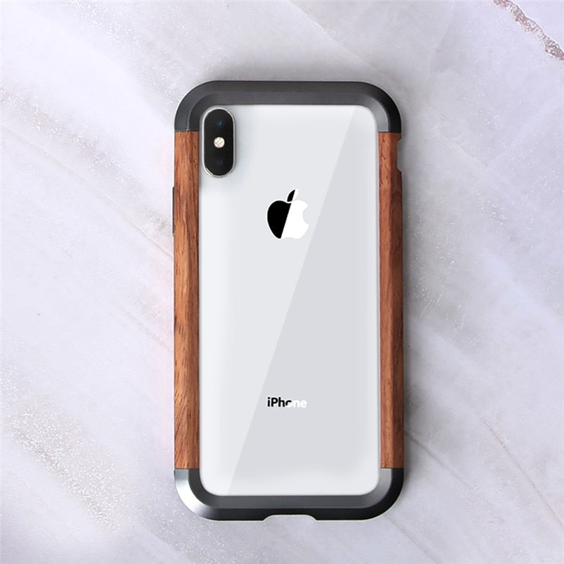 Retro Aluminum + Wood Shockproof Frame  Phone Case