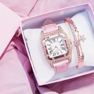 Women Diamond Watch Starry Square Dial Bracelet Watches