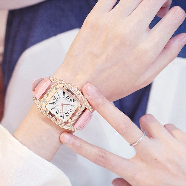 Women Diamond Watch Starry Square Dial Bracelet Watches - Fashion Factorys