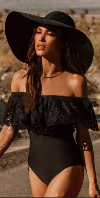 New Sexy Off The Shoulder Solid Women Swimwear