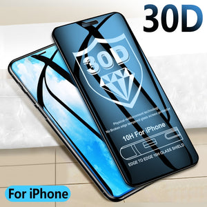 30D Protective glass on For iPhone  Curved edge