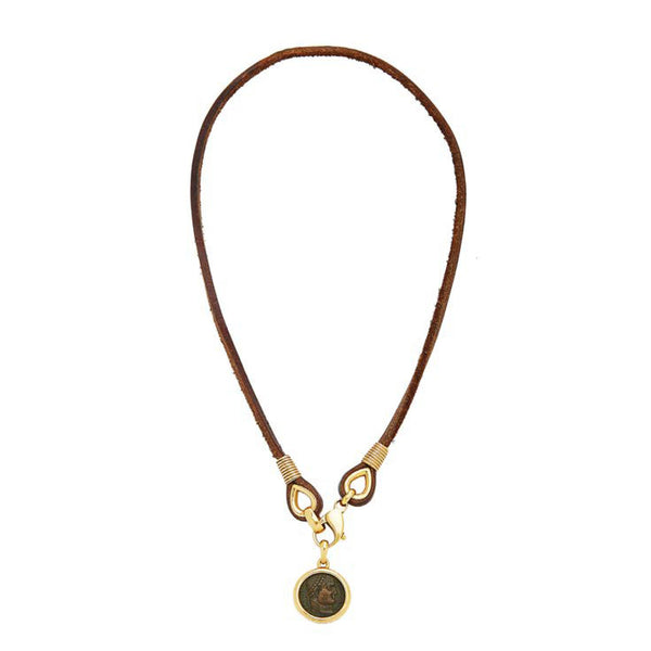 Bulgari Leather Gold and Ancient Roman Coin Necklace