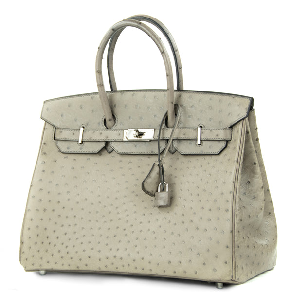 Hermes Birkin Bag 35cm Mousse Ostrich PHW (Pre Owned)
