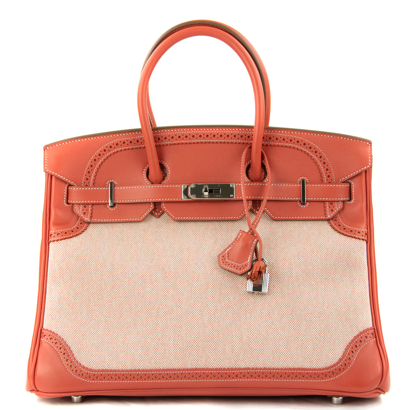 Hermes Birkin Bag 35cm Sanguine Ghillies Toile PHW