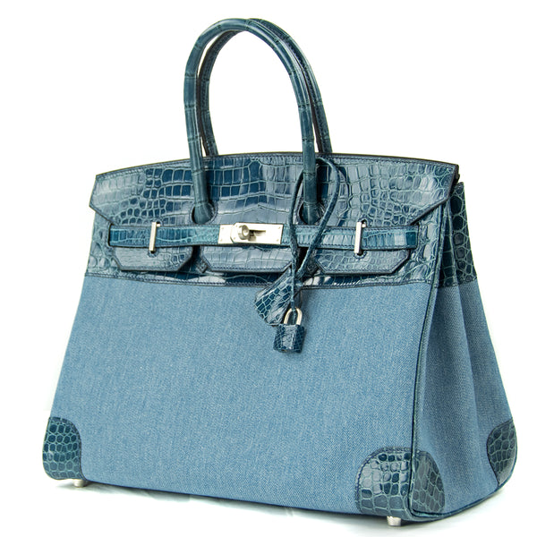 Hermes Birkin Bag 35cm Shiny Blue Roi Porosus Crocodile & Denim PHW