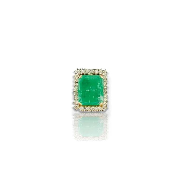 Important Diamond & Emerald Square-Shaped Ring
