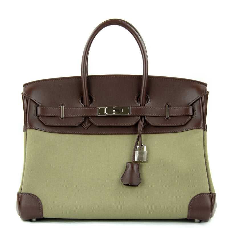 Hermes Birkin Bag 35cm Olive Toile Officier Canvas Chocolate PHW