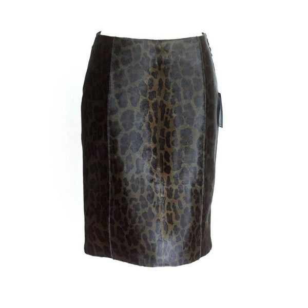 PRADA Skirt Pencil Leopard Print Calf Hair 40 / 6 NWT