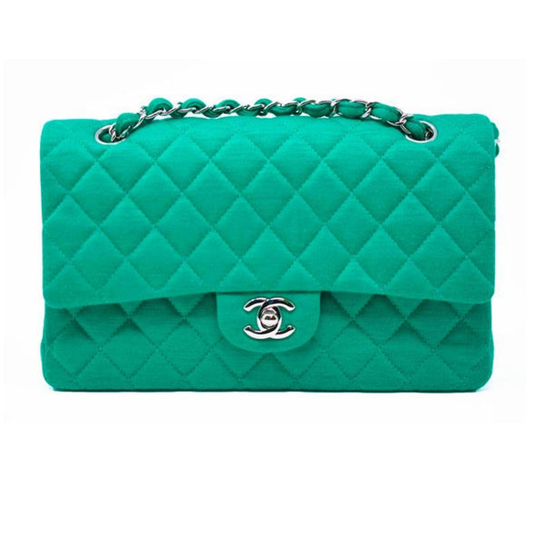 Chanel Emerald Green Jersey Knit Classic Double Flap Bag
