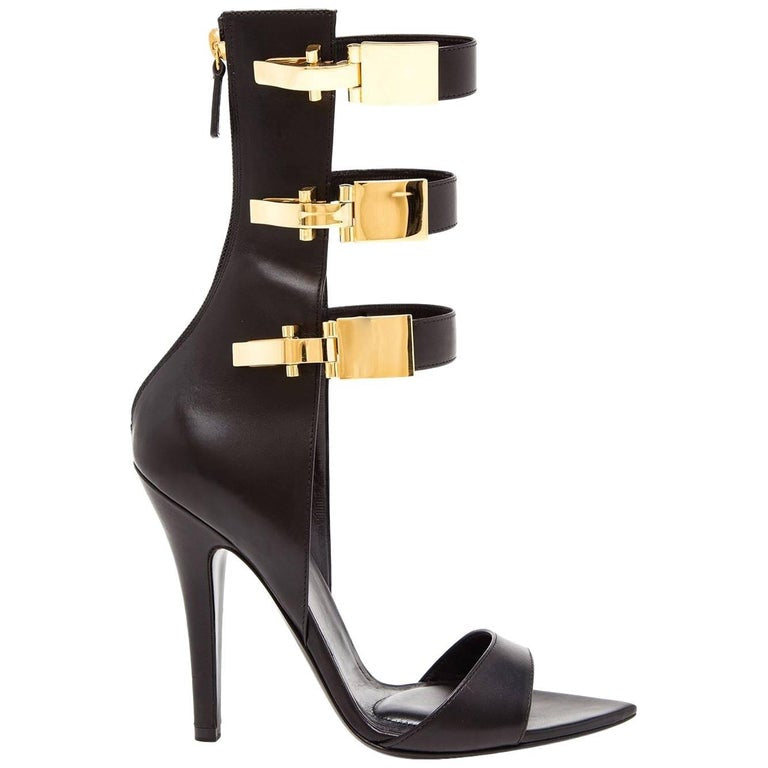 Versus x Anthony Vaccarello Black Leather Edition Sandals