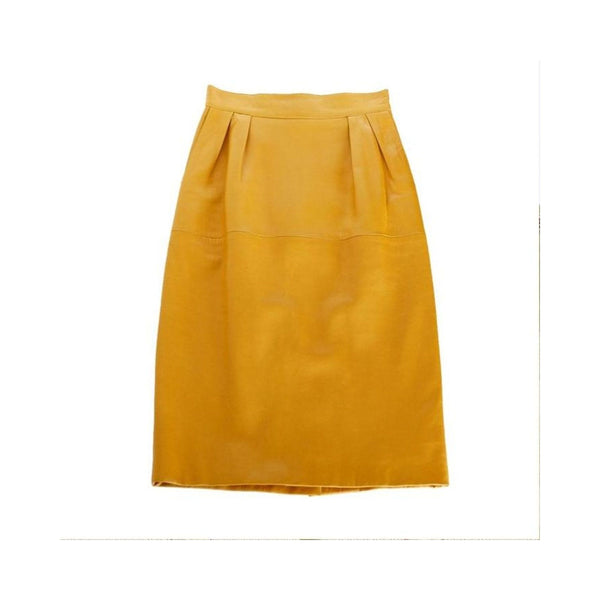 HERMES skirt pigskin leather golden mustard 38 fits 4 to 6