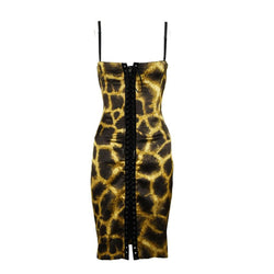 Dolce & Gabbana Giraffe Print Silk Lace Up Dress
