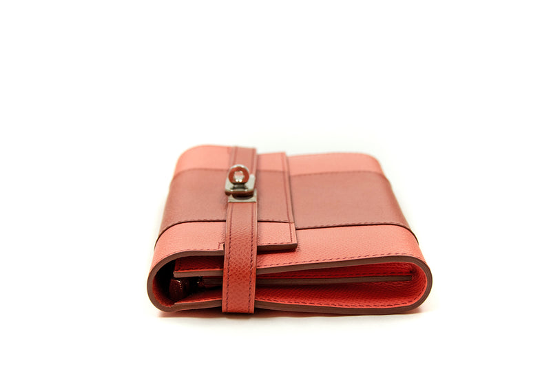 Hermes Kelly Flag Wallet Coral and Flamingo Pink Epsom PHW