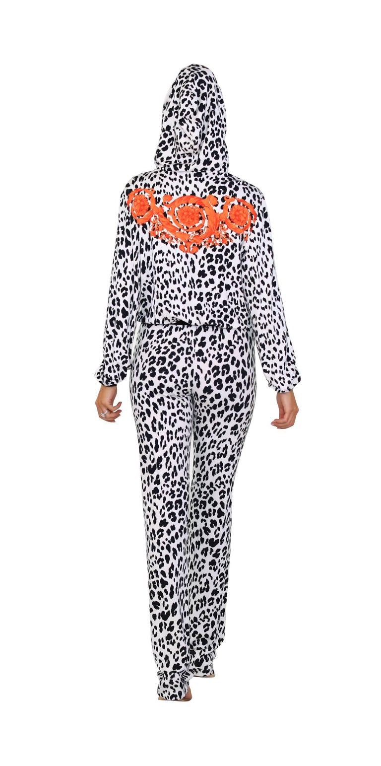 VERSACE BAROCCO ANIMALIER LOUNGE SUIT TRACK PANTS with HOODED JACKET