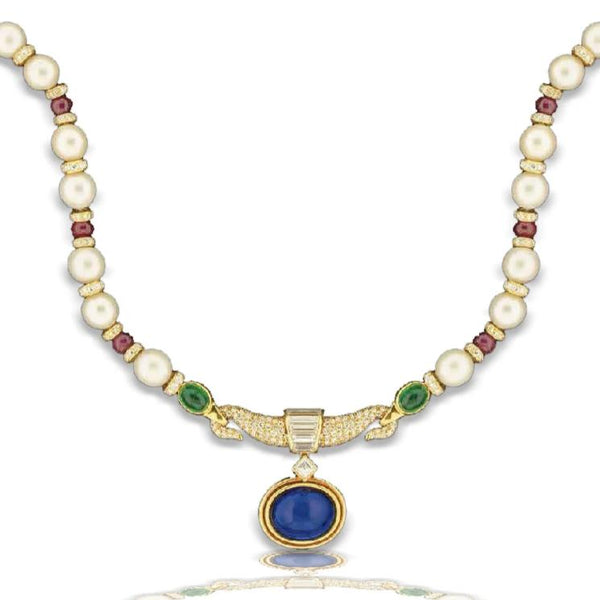 Bulgari Blue Sapphire Pendant Necklace with Multi-Color Gemstones and Pearls