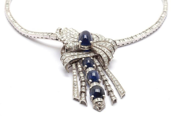 1950s Important Sapphire Diamond Drop Necklace