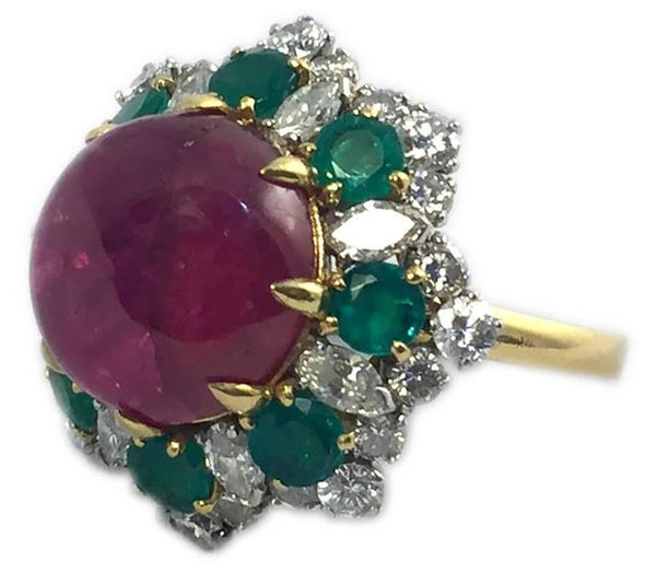1965 Bulgari Ruby Emerald Diamond Gold Dolce Vita Ring