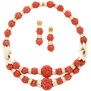 1970s David Webb Coral Enamel Gold Set