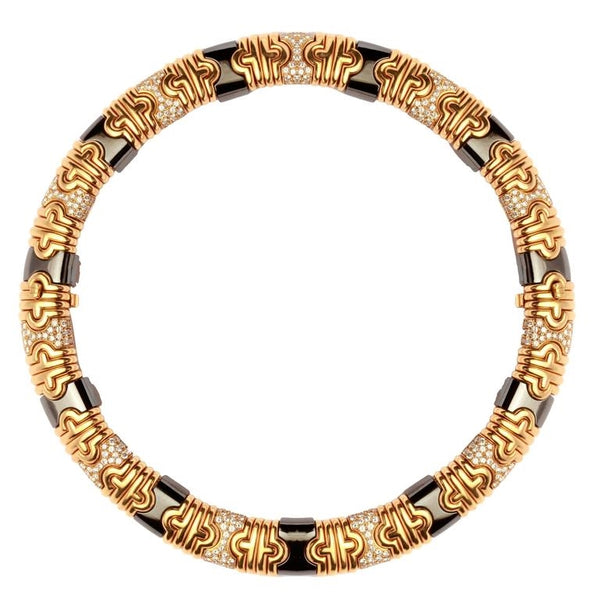 1980s Bulgari Hematite Pave Diamond Gold Parenthesis Necklace
